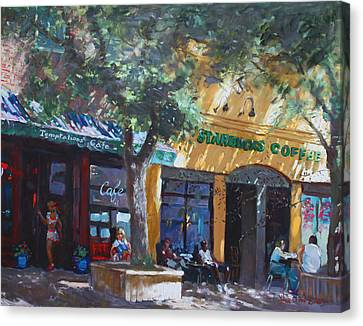 Starbucks Hangout Canvas Print by Ylli Haruni