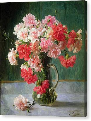 Still Life Of Carnations   Canvas Print by Emile Vernon