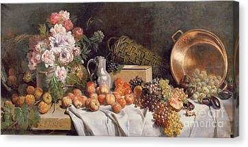 Peach Canvas Print -  Still Life With Flowers And Fruit On A Table by Alfred Petit