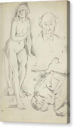 Self-portrait Canvas Print -  Studies Of Three Figures Including A Self-portrait  by Paul Cezanne