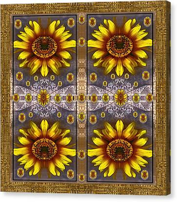 Snack Canvas Print -  Sunflower Fields On Lace Forever Pop Art by Pepita Selles