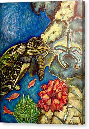 Sweet Mystery Of The Sea A Hawksbill Sea Turtle Coasting In The Coral Reefs Original Canvas Print by Kimberlee Baxter