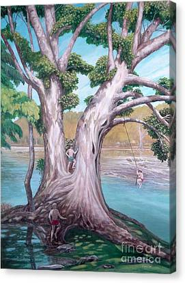 Sycamore On The Shenandoah River Canvas Print by Frances  Dillon
