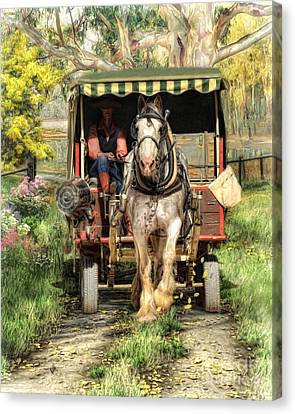 Horse And Cart Canvas Print -  Take Me Home Country Road by Trudi Simmonds