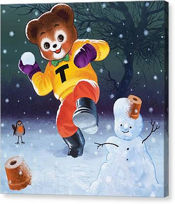 Teddy Bear Throwing Snowballs Canvas Print by William Francis Phillipps
