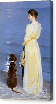 The Artist's Wife And Dog By The Shore Canvas Print