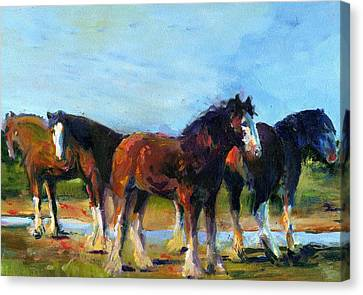 The Four Clydesdales  Canvas Print by Kathy Dueker
