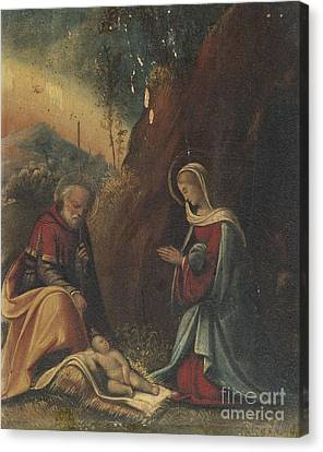 The Holy Family In A Landscape Canvas Print by Celestial Images