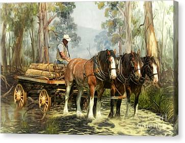 The Timber Team Canvas Print by Trudi Simmonds