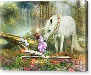 Canvas Print featuring the digital art  The Unicorn Book Of Magic by Trudi Simmonds
