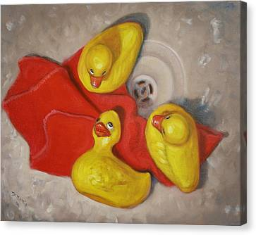 Three Rubber Ducks  #1 Canvas Print by Donelli  DiMaria