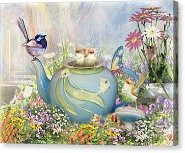 Canvas Print featuring the digital art  Tiny Tea Party by Trudi Simmonds