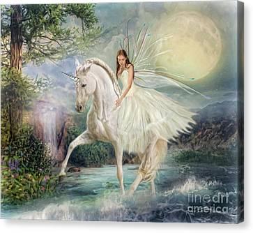 Canvas Print featuring the digital art  Unicorn Magic by Trudi Simmonds
