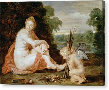 Venus And Cupid Warming Themselves  Canvas Print by Peter Paul Rubens