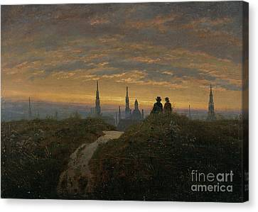 View Of Dresden At Sunset Canvas Print by Celestial Images