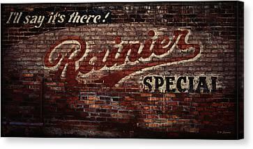 Vintage Rainier Sign Canvas Print by DMSprouse Art