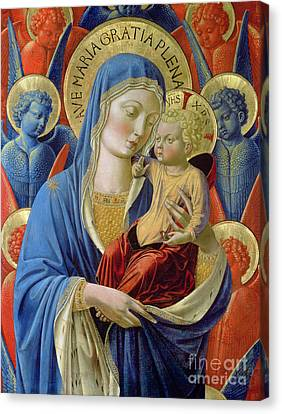 Virgin And Child With Angels Canvas Print by Benozzo di Lese di Sandro Gozzoli