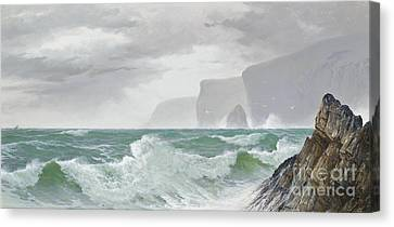 Waves Crashing Onto The Cornish Coast Canvas Print by Celestial Images