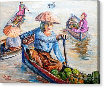 Women On Jukung Canvas Print