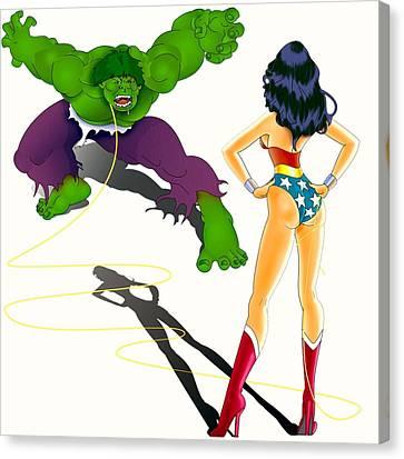Wonder Woman Vs Hulk Canvas Print by Lynn Rider