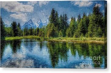 Wyoming Tetons Spruce Mountain Lake. Oil Painting . Canvas Print by Heinz G Mielke