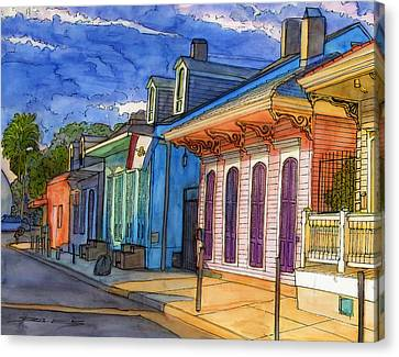0  French Quarter Houses In Pink And Blue Canvas Print by John Boles