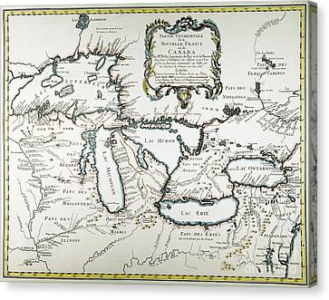 Great Lakes Map, 1755 Canvas Print by Granger