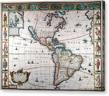 1616 Canvas Print - New World Map, 1616 by Granger