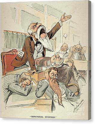 Senate Cartoon,free Silver Canvas Print by Granger