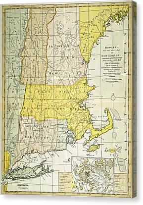 New England Map, C1775 Canvas Print by Granger