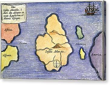 Map Of Atlantis, 1678 Canvas Print by Granger