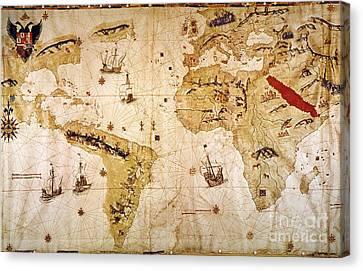 Vespucci's World Map, 1526 Canvas Print by Granger