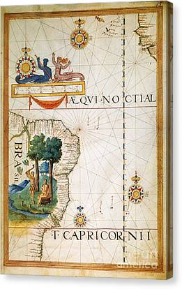 Brazil: Map And Native Indians Canvas Print by Granger