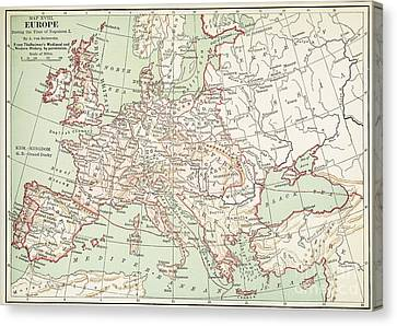 Map Of Europe, C1812 Canvas Print by Granger