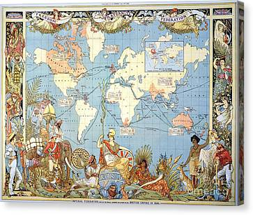 Map: British Empire, 1886 Canvas Print by Granger