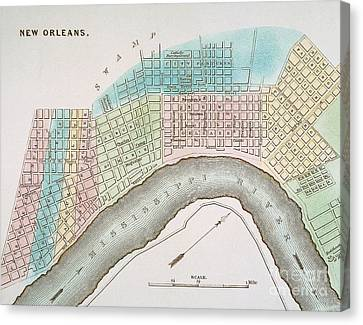 New Orleans Map, 1837 Canvas Print by Granger