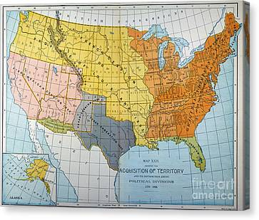 U.s. Map, 1776/1884 Canvas Print by Granger
