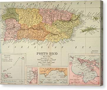 Puerto Rican Canvas Print - Map: Puerto Rico, 1900 by Granger