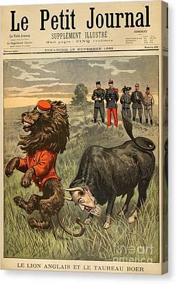 Boer War Cartoon, 1899 Canvas Print by Granger