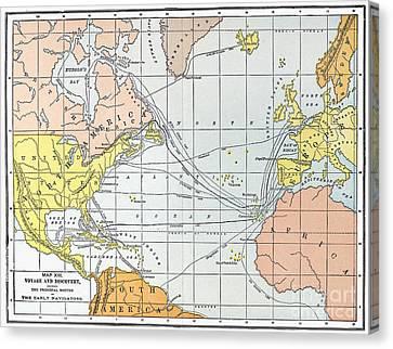 Map: Atlantic Voyages Canvas Print