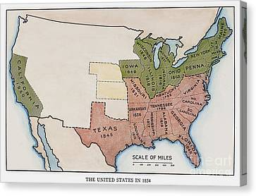 United States Map, 1854 Canvas Print by Granger