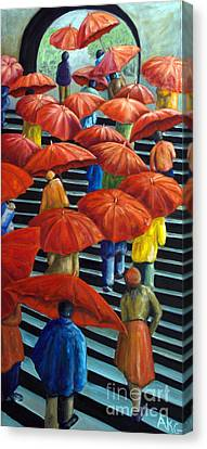 Canvas Print featuring the painting 01149 Climbing Umbrellas by AnneKarin Glass