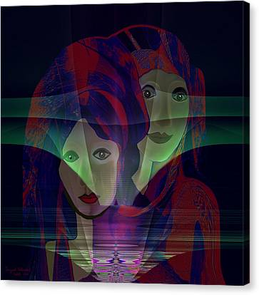036 - Two Faces Of  Night  Canvas Print by Irmgard Schoendorf Welch