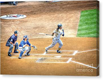 0990 Base Hit - Mccutchen Canvas Print by Steve Sturgill