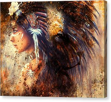 Indian Woman Wearing  Feather Headdress With Lion And Abstract Color Collage. Canvas Print by Jozef Klopacka