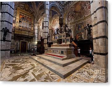 Interior Of Siena Cathedral, Italian Duomo Di Siena With Mosaic Floor Canvas Print by Michal Bednarek