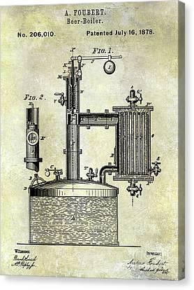1878 Beer Boiler Patent Canvas Print