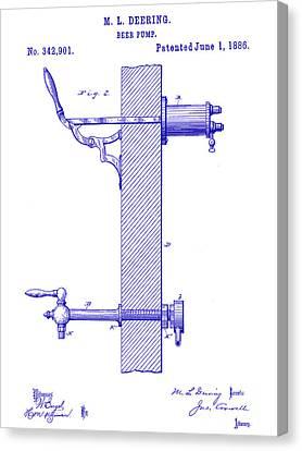 1886 Beer Pump Patent Blueprint Canvas Print