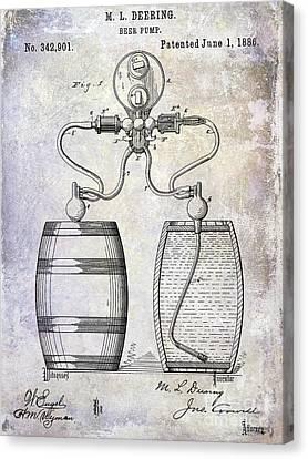1886 Beer Pump Patent Canvas Print
