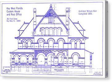 1891 Key West Custom House Blueprint Canvas Print